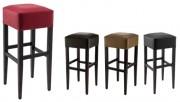 Tabouret haut bois assise rembourrée - Dimensions (L x l x h) : 36 x 36 x 81 cm