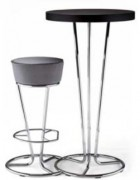 Tabouret haut structure chrome - Finition similicuir