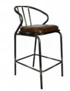 Tabouret métallique à assise en orme - Assise ronde ou carrée
