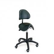 Tabouret selle à dossier - Hauteur d'assise réglable : 460 à 660 mm