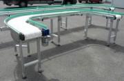 Tapis convoyeur modulaire en inox/aluminium - Modules droits et courbes, châssis acier peint/alu/inox