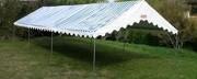 Tente de réception 5x12 pour collectivité - Surface : 5x12 - 60 m² (Toit Rayé Bleu/Blanc+Armature)