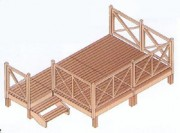 Terrasse basse mobil home - Dimensions possibles : 3 x 2.4 m - 4.5 x 2.4 m -  6 x 2.4 m