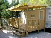 Terrasse bois mobilhome couverte - Surface : 13,50 m2 - couverte
