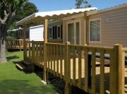 Terrasse bois pour mobil home - Surface : 18 m2 - 1/2 couverte