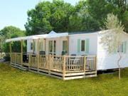 Terrasse bois pour mobile home - Surface : 22,50 m2 - 1/2 couverte