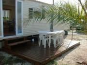 Terrasse mobil home pour camping - Bois autoclave - Surface : 15 m2