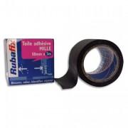 Toile adhésive MILLE, plastifiée et imperméable, rouleau de 50mmx noir - Rubafix