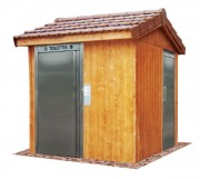 Toilette publique à toit 2 pans