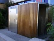 Toilettes Personnalisés à habillage bois vertical - Toilettes Coutances-dept 50