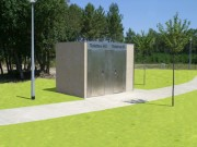 Toilettes public doubles en béton