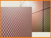 Tôle perforée décorative cuivrée - Relief et reflet métallique du cuivre