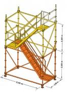Tour escalier aluminium - Dimensions (L x l) : 3 x 2 m