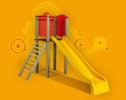 Tourelle en bois avec toboggan enfants - Dimensions (L x P x H) cm : 124 x 274 x 170