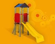 Tourelle toboggan pour enfants - Dimensions (H x P x L) cm : 70 x 283 x 225