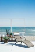 Transat de piscine courbé - Bain de soleil détente - têtière en option