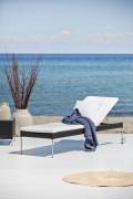 Transat piscine réglable - En acier avec coussin - A dossier réglable - Dim : 36x60x190 cm