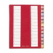 Trieur alphabétique 32 compartiments bordeaux, couverture rigide plastifiée, onglets métalliques - Emey