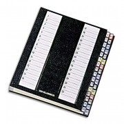 Trieur alphabétique 32 compartiments noir, couverture rigide plastifiée, onglets métalliques - Emey