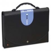 Trieur valisette noir en PP EXACASE 13 compartiments.Dos extensible, onglets personnalisables - Exacompta