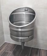 Urinoir mural individuel inox - Urinoir automatique design vintage fût de bière
