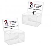 Urne électorale avec porte affiche - Lot de 2 urnes - Avec ou sans serrure - Format visuel : 150 x 100 mm
