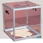 Urne électorale transparente - Dimensions (L x l x h) mm : 400 x 400 x 320/425