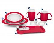 Vaisselle ergonomique - En mélamine et matières synthétiques de haute qualité