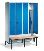 Vestiaire banc - Dimensions utiles par porte (H x L x P) : 1315 x 230/330 x 465 mm