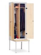 Vestiaire bois acier à banc intégré - Dimensions (hxlxp) : 1970 x 600 x 780 mm