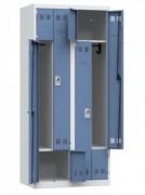 Vestiaire de rangement métallique 4 casiers -  1 case grande largeur, 1 compartiment penderie par pers.