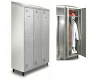 Vestiaire inox - Dimensions (mm) : 800 x 500 x 2100 (2 cases) - 1200 x 500 x 2100 (3 cases)