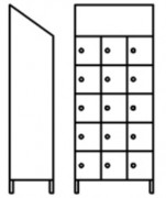 Vestiaire multicases 15 portes inox - Dimensions (L x P x H) mm : 910 x 400 x 2160