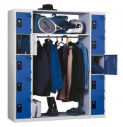 Vestiaire penderie - 2 colonnes de 5 cases + tablettes centrales et tringle