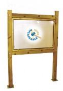 Vitrine affichage bois simple poteaux carrés - Dimensions : 750 x 1160 mm - Modèle : Recto ou Recto/Verso