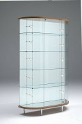 Vitrine commerce haute ovale - Dimensions (L x P x H) : 112 x 38 x 190 cm