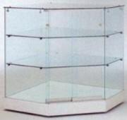 Vitrine comptoir avec 2 étagères en verre - Dimensions 82 x 82 x 95H cm