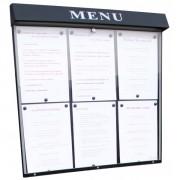 Vitrine d'affichage menu pour restaurant - Capacité : 6 pages - Dimensions d'affichage (cm) : 68 x 60