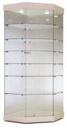 Vitrine d'angle avec 6 étagères en verre - 82 x 82 x 187H cm  /  82 x 82 x 208H cm