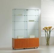 Vitrine d'angle haut avec bois à 2 tiroirs - Dimensions (L x P x H) : 117 x 40 x 180 cm