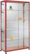Vitrine d'exposition aluminium avec 4 étagères en verre - Dimensions:  100 x 42 x 180H cm
