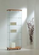 Vitrine d'exposition avec bois en bas Largeur 60 cm - Dimensions (L x P x H) : 60 x 40 x 180 cm