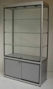 Vitrine d'exposition en verre et aluminium naturel - Dimensions (HxPxL) cm : de 125 x 78 x 43  à  181 x 103 x 43