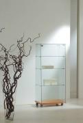 Vitrine d'exposition en verre trempé - Dimensions (L x P x H) : 60 x 40 x 140 cm