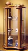 Vitrine d'exposition galbée en bois merisier - Dimensions : ( H x L x P) : 95 x 55 x 35 cm