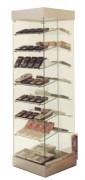 Vitrine d'exposition verre à étagères inclinées - 54 x 54 x 190H cm