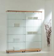 Vitrine de commerce large avec bois - Dimensions (L x P x H) : 157 x 40 x 181 cm