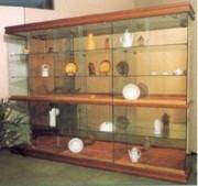 Vitrine meuble Socle et plafond en bois - 1 tablette bois 3 tablettes verre