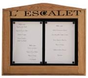 Vitrine murale pour menu restaurant - Capacité : 2 pages - Modèle : Mural à simple face
