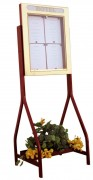 Vitrine porte menu 4 pages sur pied jardinière - Capacité : 4 pages - Modèle à double face